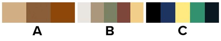 Choice between a) a neutral colour palate, b) a natural colour palate, c) a rich and bright colour palate