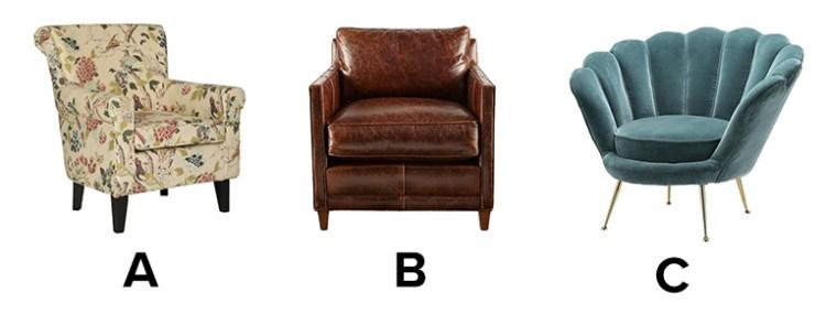 Choice between a) a vintage armchair, b) a leather armchair, c) a blue suede armchair