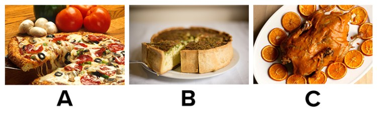 Choice between a) pizza, b) Quiche c) Duck à l'orange