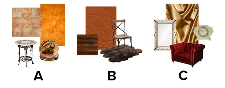 Choice between furnishings made of different materials
