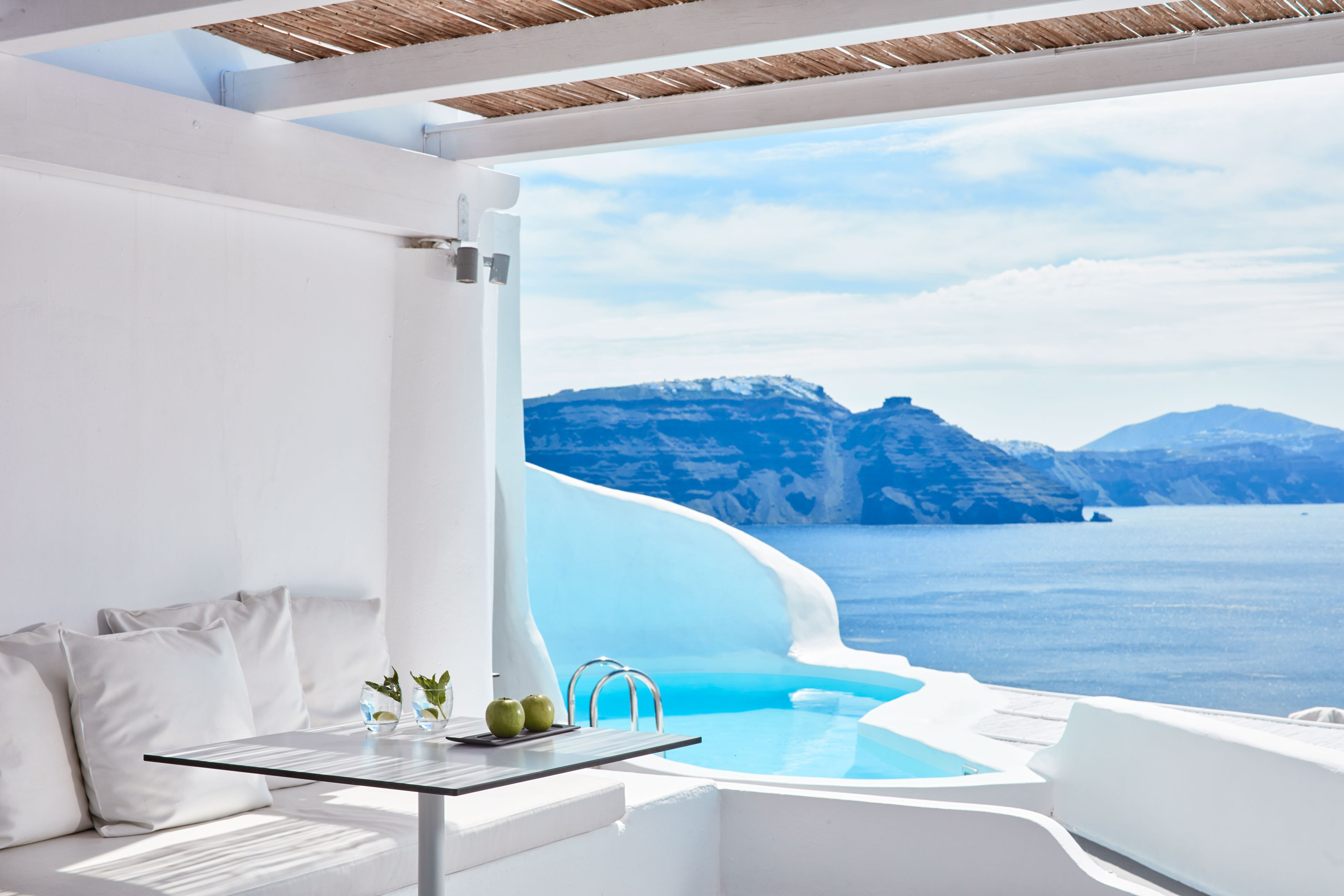 view from a room at the Katikies Resort in Santorini, Greece