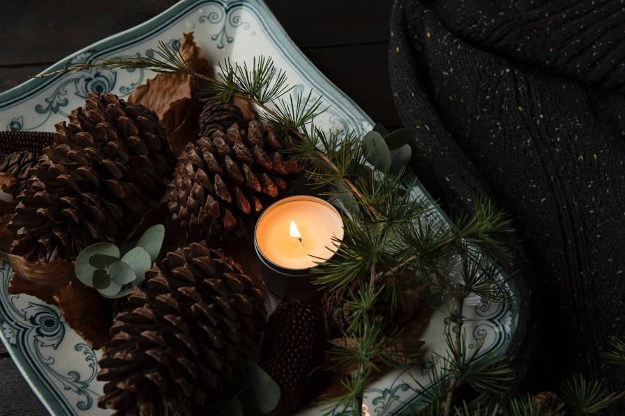 pine cones and a candle on a tray