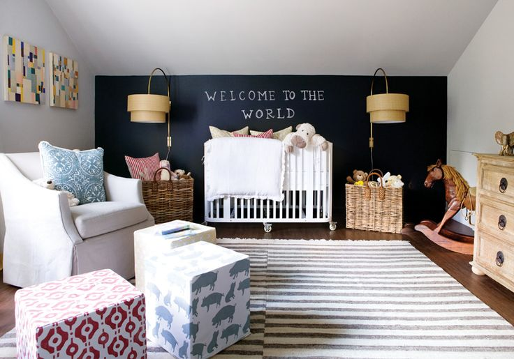 a blackboard feature wall in a nursery