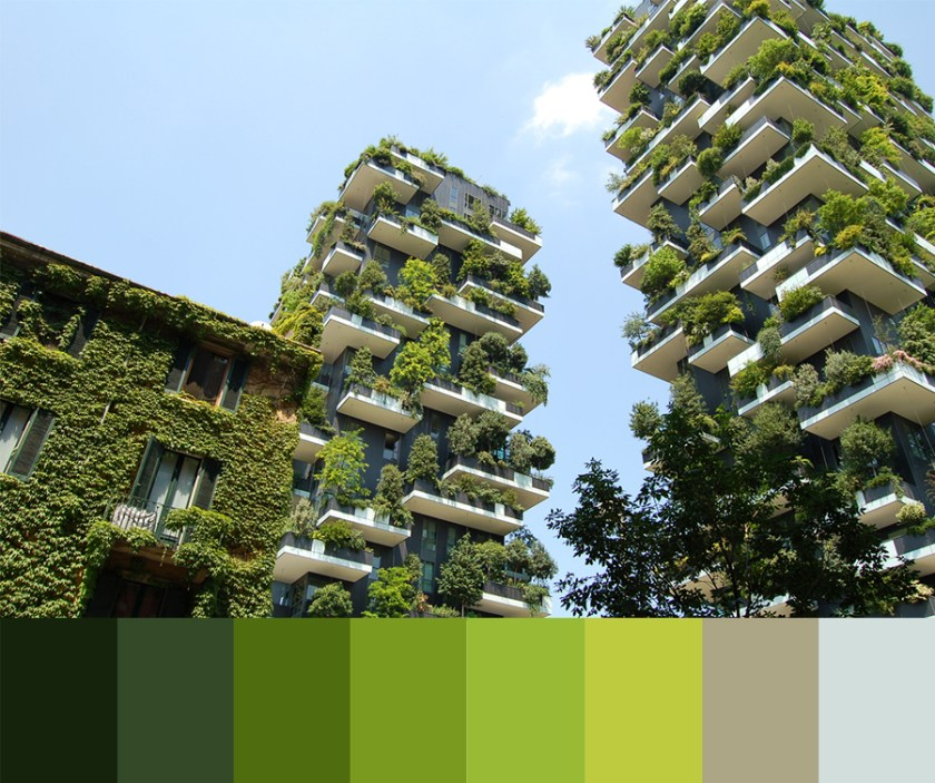 an image of condo buildings with plants and vines growing from the balconies, collaged with a colour palette