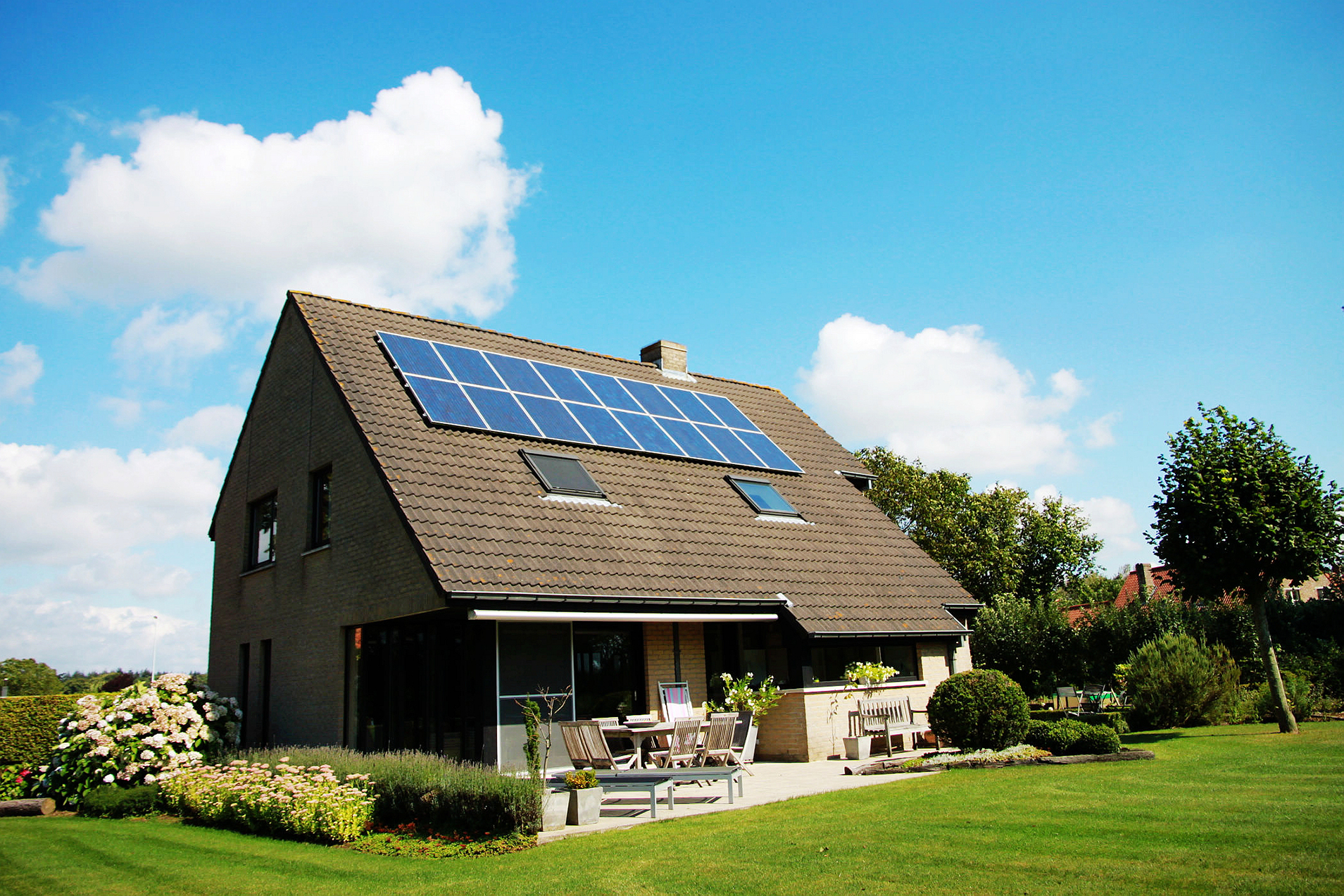 solar panels of the roof of a house