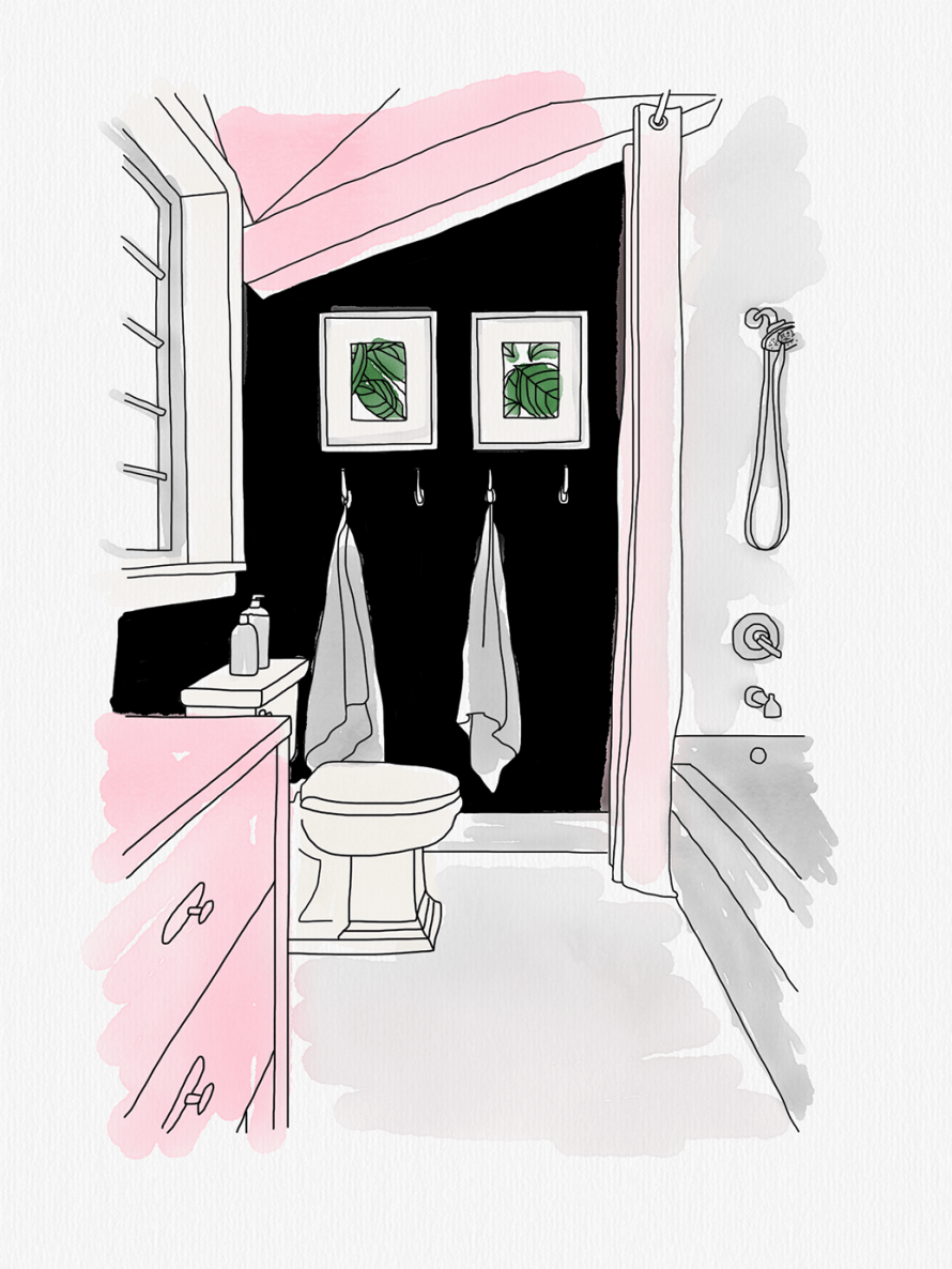 An illustration of a small bathroom in contrasting pink, black and white