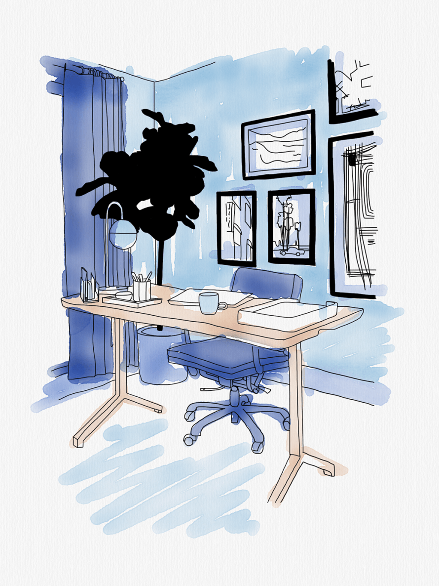 A personal office illustration in shades of blue