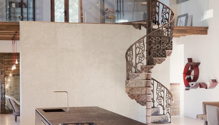 Spiral iron staircase