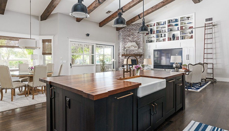 Custom designed open concept kitchen, living and dining room.