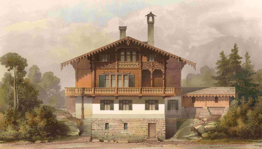 Painting of an late 18th century chalet.
