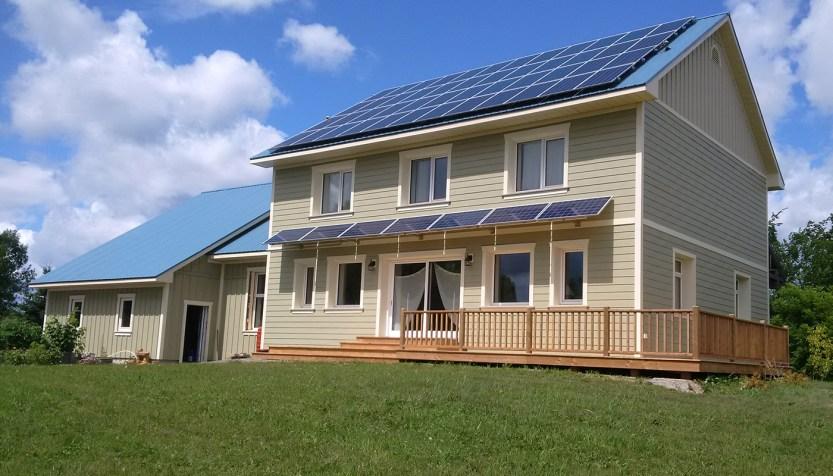 Solar panels on house.