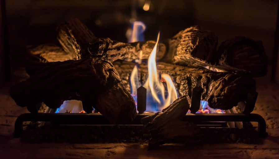 Close-up of a gas fireplace flame