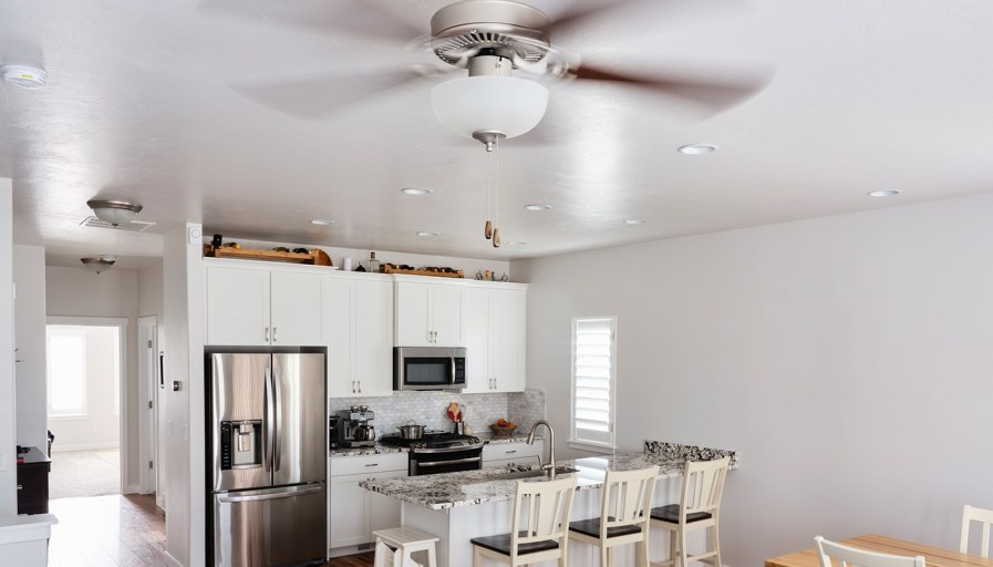 Ceiling fan in kitchen