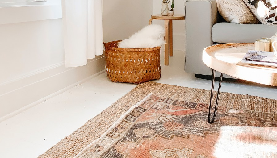 Vintage rug in living room
