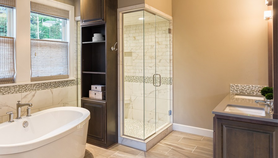 Bathroom with beige tiles and walls
