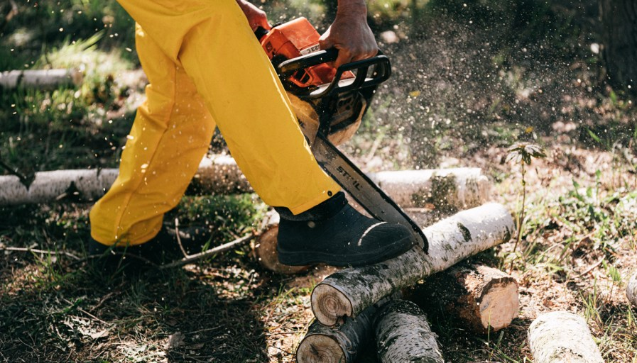 man with chainsaw cutting log
