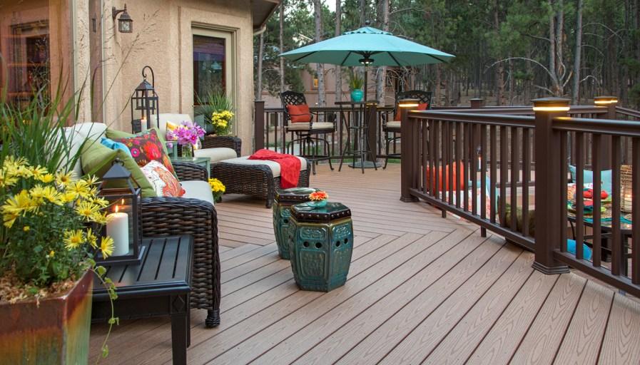 Treated wood deck