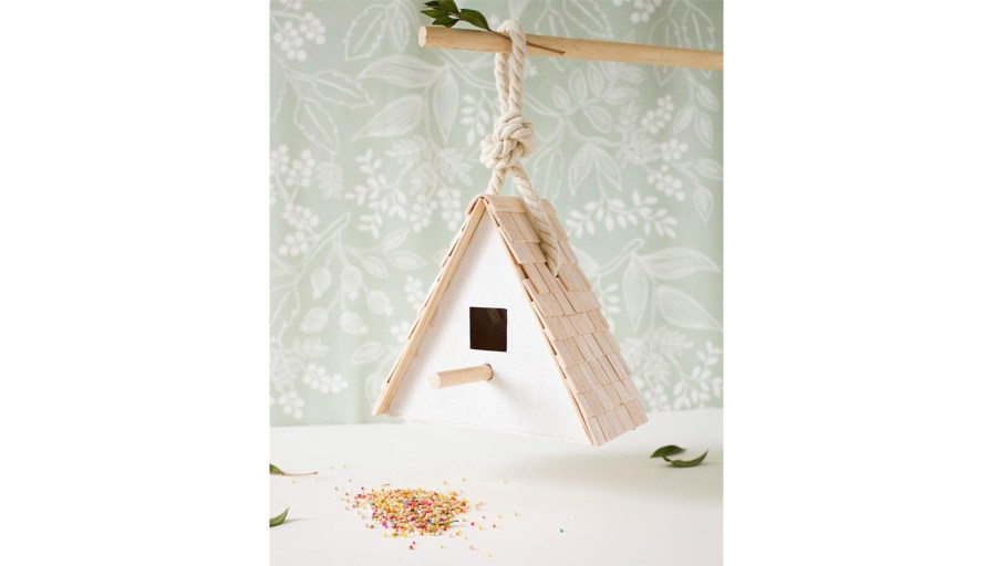 Birdhouse hanging over counter