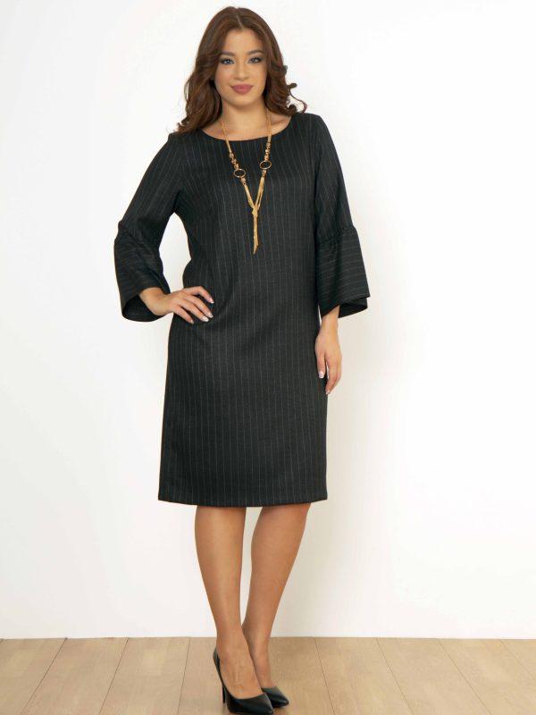 Φόρεμα ριγέ με βολάν μανίκι