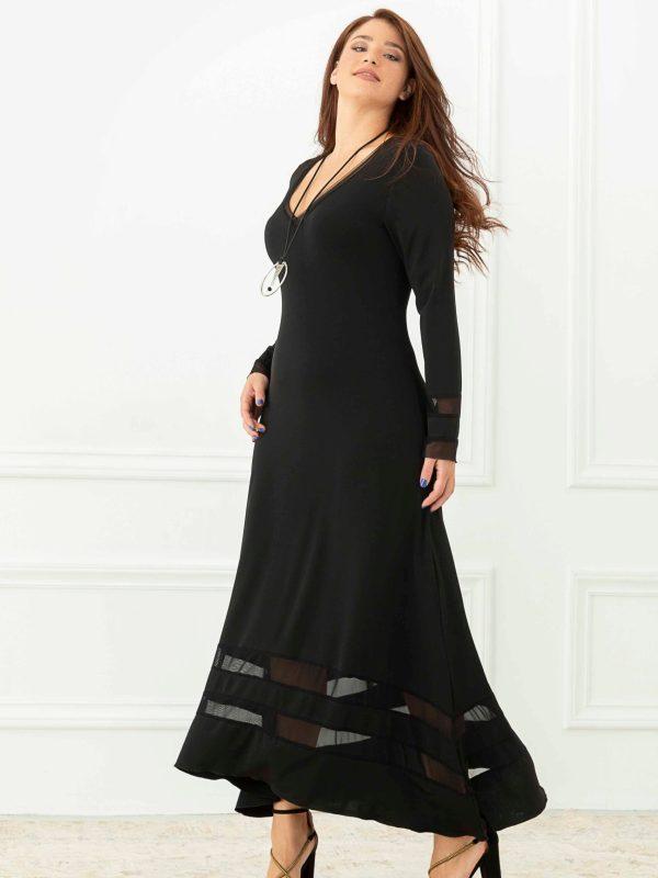 Maxi φόρεμα με διαφάνειες και κολιέ