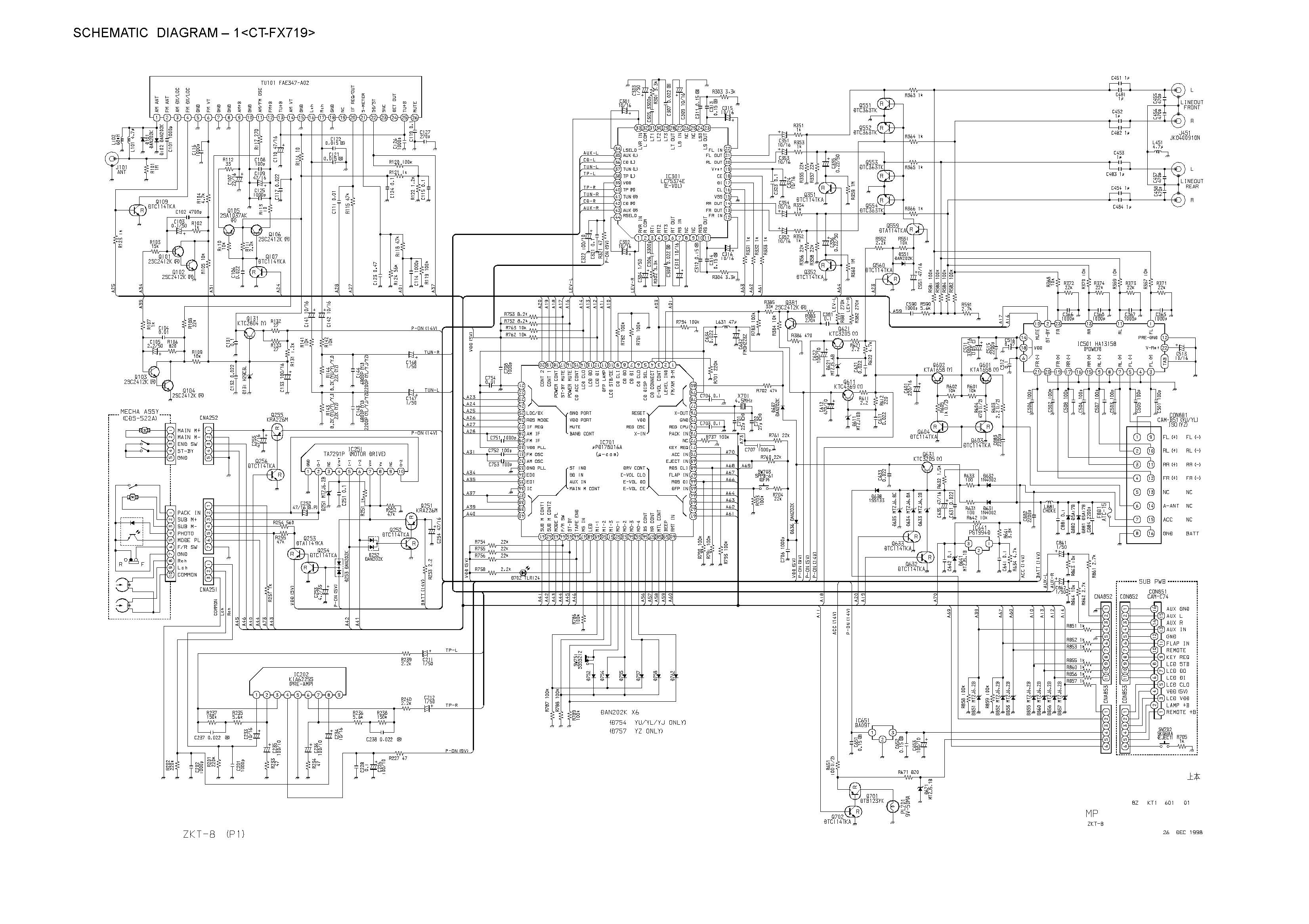 Aiwa Ct Fx719 Schematic Diagram Main Front In