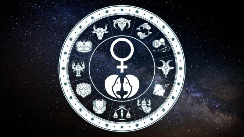 Tierkreiszeichen und Symbol Venus in Zwillinge