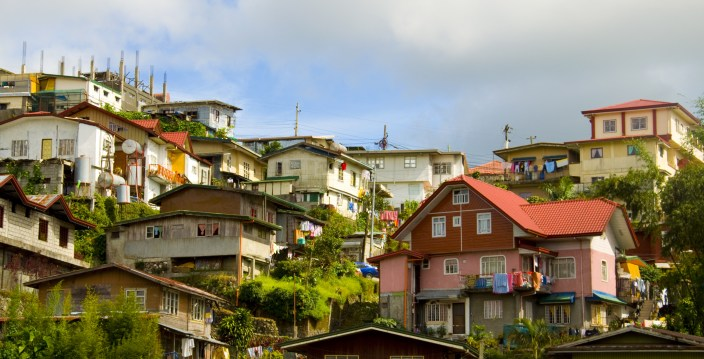 Residental structures on the hil tops of Baguio Cuty, Philippines