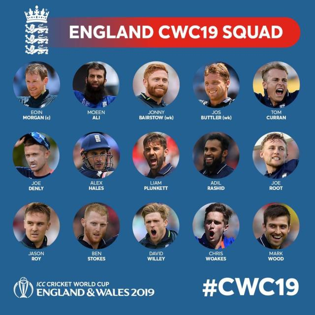 England has announced the World Cup Squad