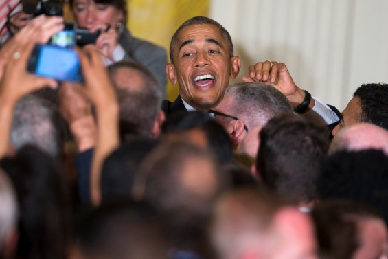 President Barack Obama shakes hands after speaking at a reception to celebrate LGBT Pride Month in the East Room of the White House, on Wednesday, June 24, 2015, in Washington. (AP Photo/Evan Vucci)
