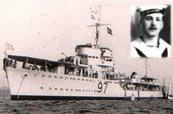 Το αντιτορπιλικό «Ύδρα» βυθίστηκε στο Σαρωνικό τη Μεγάλη Εβδομάδα του '41 από τα γερμανικά Στούκας. Παρέσυρε στον υγρό τάφο 42 μέλη του πληρώματος. Ανάμεσα στους νεκρούς ήταν και ο Βολιώτης ναυτοδίοπος Σπύρος Γρηγορόπουλος (ένθετη φωτογραφία). Το «Ύδρα» συνόδευε στη Σούδα το υποβρύχιο «Παπανικολής» και το βοηθητικό «Μαρί Μερσκ» που ήταν φορτωμένο με τα πυρομαχικά του στόλου