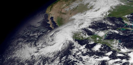 Hurricane Patricia, a category 5 storm, is seen approaching the coast of Mexico in a NOAA satellite image taken by GOES East at 10:45 ET (14:45 GMT) October 23, 2015. Patricia, one of the strongest storms ever recorded, bore down on Mexico's Pacific Coast, prompting the evacuation of thousands of tourists and residents and a mad rush for emergency supplies. The U.S. National Hurricane Center reported on Friday morning Patricia had maximum sustained winds of about 200 miles per hour (321 km per hour) as it moved north at 10 mph (16 kph).   REUTERS/NOAA/Handout via Reuters  THIS IMAGE HAS BEEN SUPPLIED BY A THIRD PARTY. IT IS DISTRIBUTED, EXACTLY AS RECEIVED BY REUTERS, AS A SERVICE TO CLIENTS. FOR EDITORIAL USE ONLY. NOT FOR SALE FOR MARKETING OR ADVERTISING CAMPAIGNS
