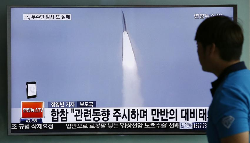 """A man watches a TV news program reporting about a missile launch of North Korea, at the Seoul Train Station in Seoul, South Korea, Tuesday, May 31, 2016. A North Korean missile launch likely failed on Tuesday, according to South Korea's military, the latest in a string of high-profile failures that tempers somewhat recent worries that Pyongyang was pushing quickly toward its goal of a nuclear-tipped missile that can reach America's mainland. The letters read on top left, """"Fail, North Korea's Musudan missile."""" (AP Photo/Lee Jin-man)"""