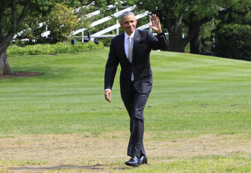 Barack Oabma returns from trip to New Jersey