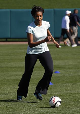 "Michelle Obama promotes her ""Let's Move"" initiative at Disney's ESPN Wide World of Sports in Orlando, Florida"