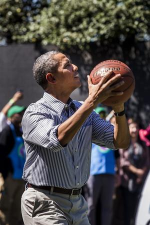 Obama Plays Basketball at Easter Egg Roll in Washington, DC
