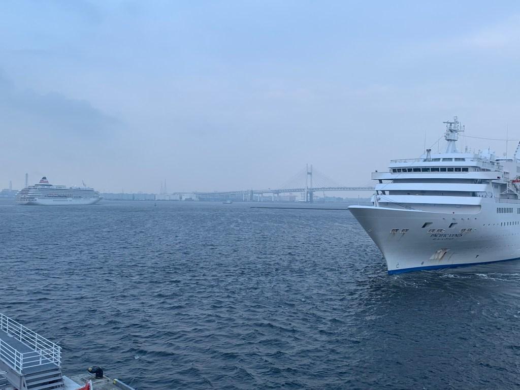 横浜を出る飛鳥とぱしふぃっくびいなす