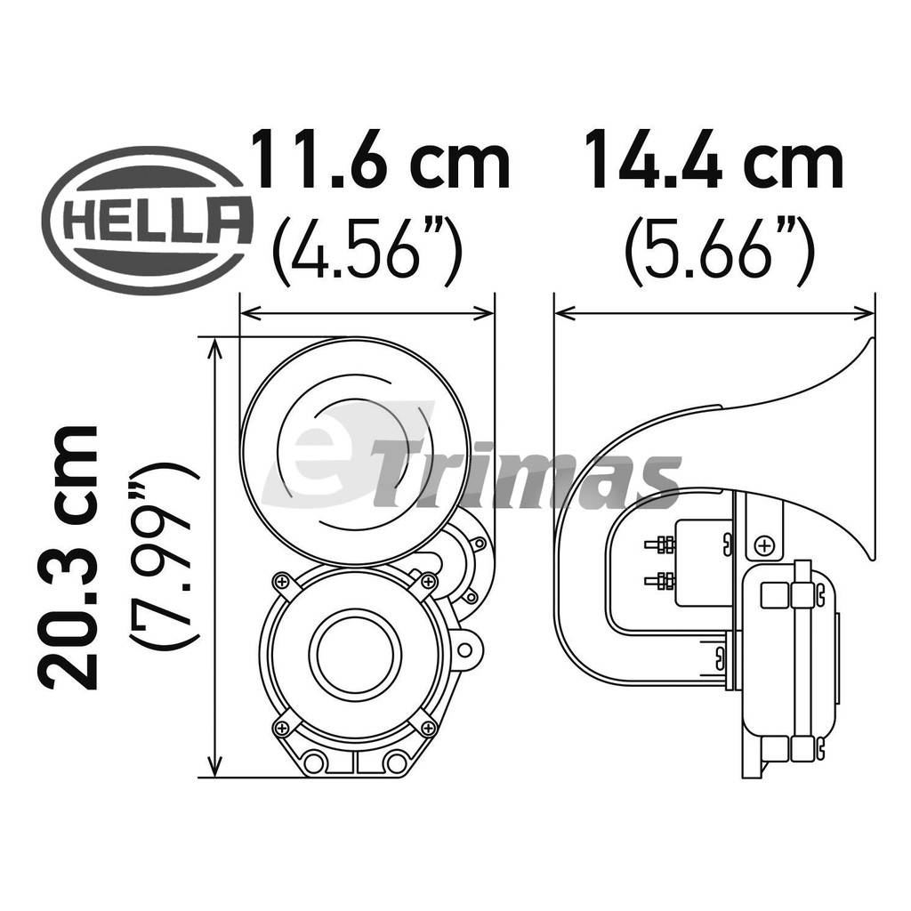 Genuine Hella Single Tone Compact Air Horn 12V 24V