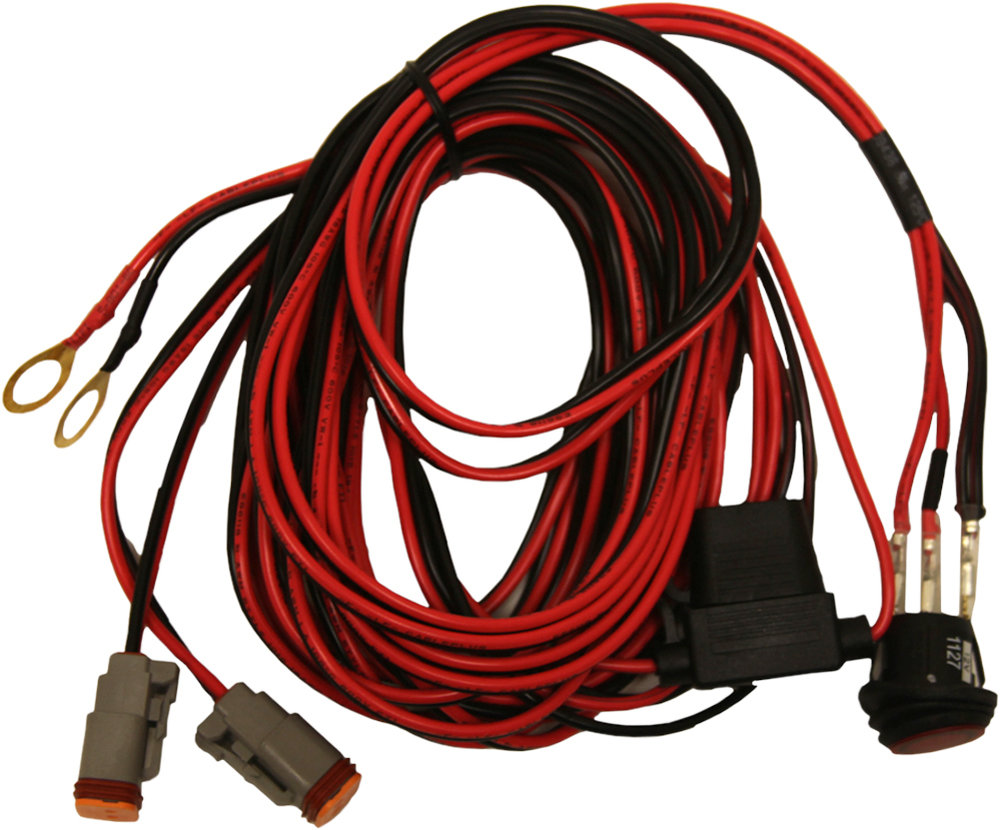 hight resolution of rigid dually atv 14 foot long wire harness pair red black 40195