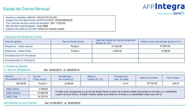Estado de Cuenta de AFP para retiro del 25% para financiar un primer inmueble.