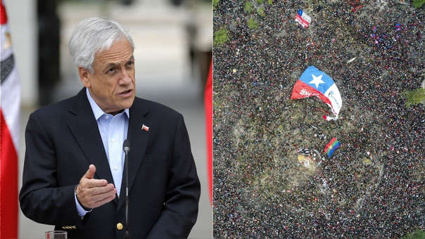Izquierda: Sebastián Piñera. Derecha: Vista aérea de la histórica marcha de este viernes en Chile, la cual movilizó a más de un millón de chilenos en protesta contra el Gobierno.
