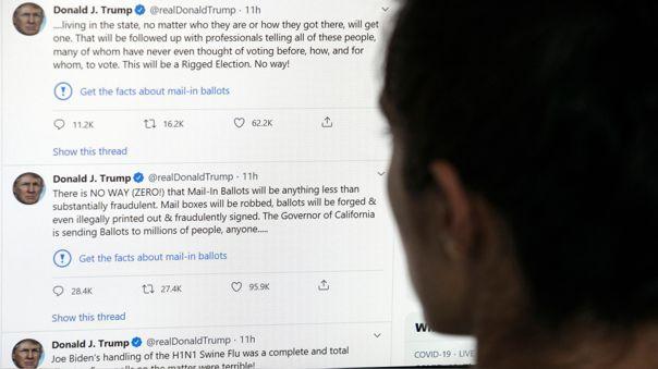 Los tuits de Trump acompañados con la advertencia de