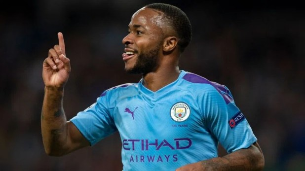 Raheem Sterling of Manchester City celebrates scoring his hat trick goal during the UEFA Champions League group C match between Manchester City and Atalanta