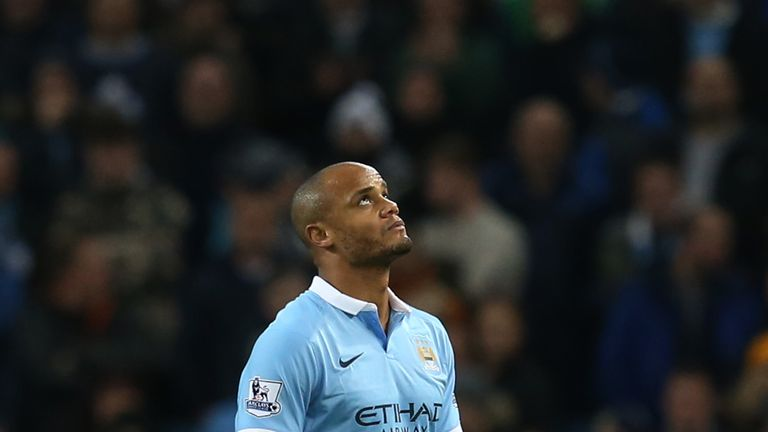 Vincent Kompany looks dejected as he leaves the pitch after injuring his calf again against Sunderland