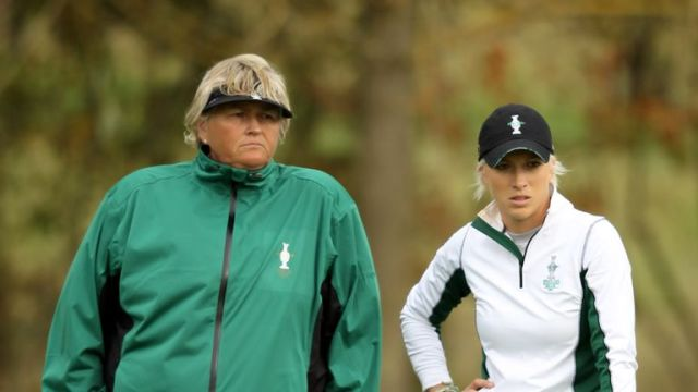 Past European Solheim Cup team members Laura Davies (left) and Melissa Reid will be heading up the female field in Morocco
