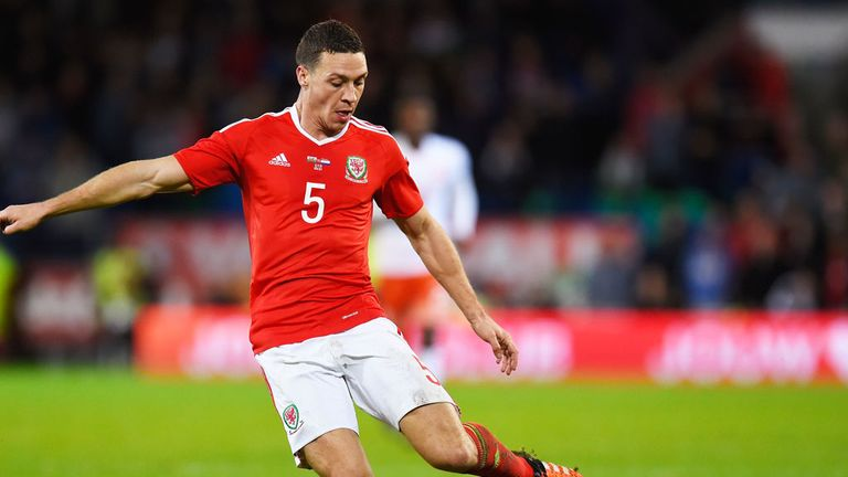 James Chester in action for Wales