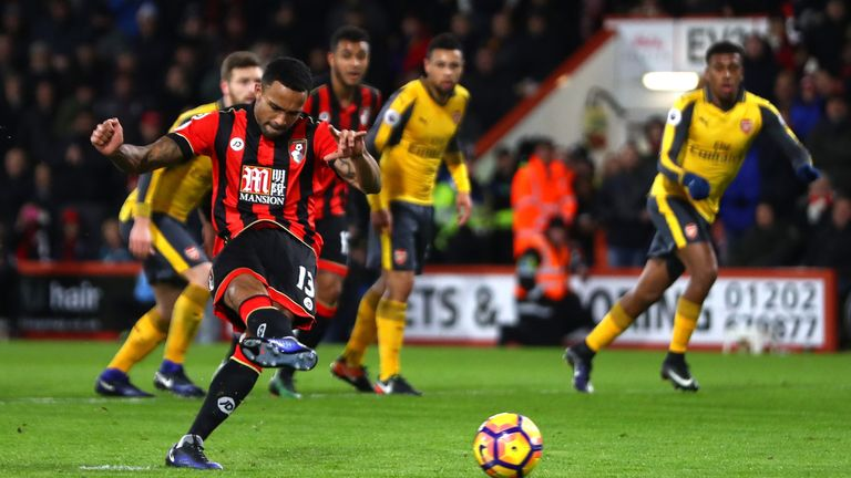 Callum Wilson converts the penalty to score his side's second goal against Arsenal