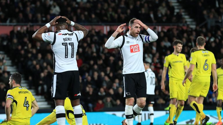 Derby's Richard Keogh (right) and Darren Bent rue a missed chance in a 0-0 draw with Burton