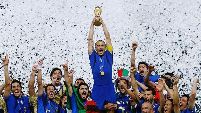 Cannavaro lifting the 2006 World Cup as Italy captain