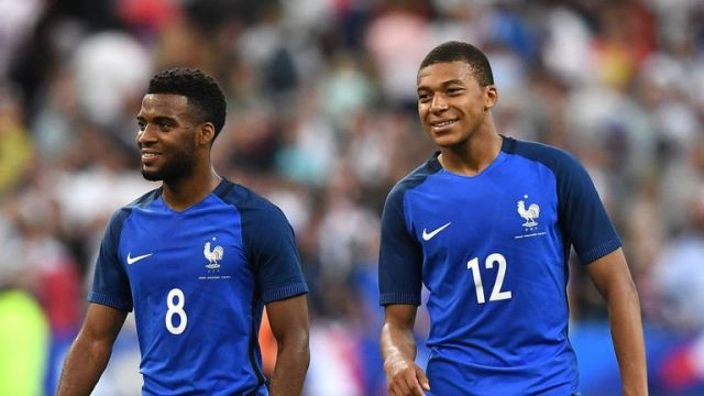 France forwards Thomas Lemar (left) and Kylian Mbappe were impressive against England