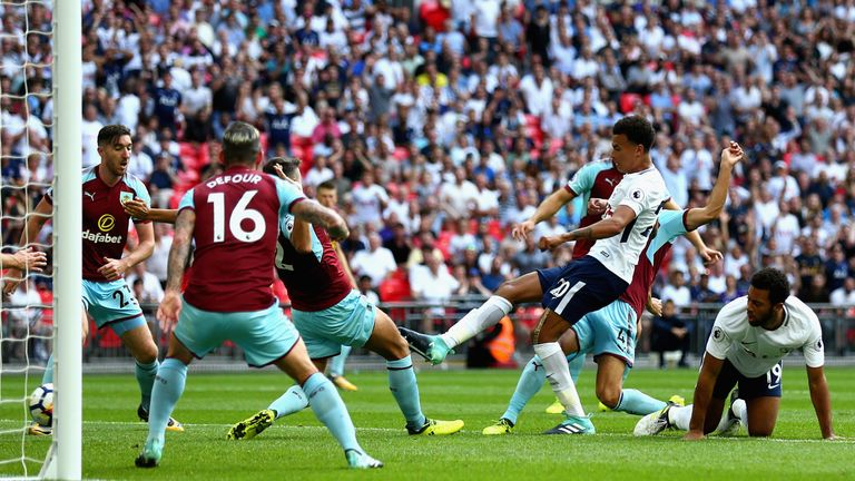 Alli put Spurs ahead against Burnley but they were pegged back by Chris Wood